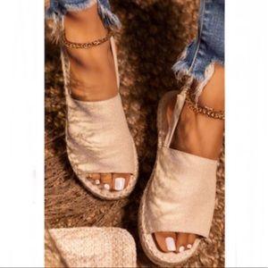 Shoes - !NEW! Peep Toe Slingback Espadrilles in Nude